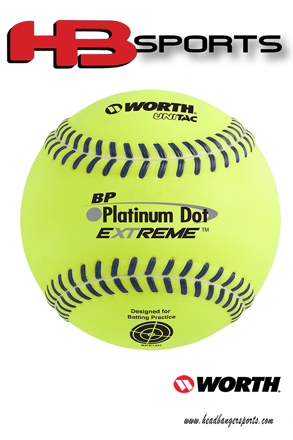 Worth Platinum Dot EXTREME Batting Practice Softballs: BPX12U at headbangersports.com