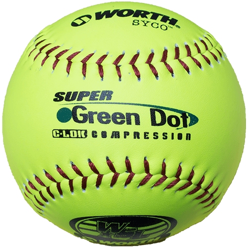 "Worth 11"" Super Green Dot WSL Slowpitch Softballs 47/400 (Dozen): YS11WSLC at headbangersports.com"