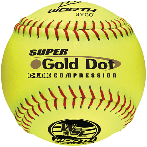 "Worth 12"" Super Gold Dot WSL Slowpitch Softballs (Dozen): YS44WSLC"