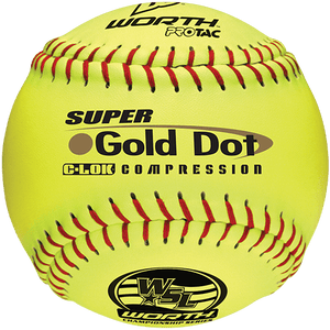 "Worth 12"" Super Gold Dot WSL Slowpitch Softballs (Dozen): YS44WSLS"