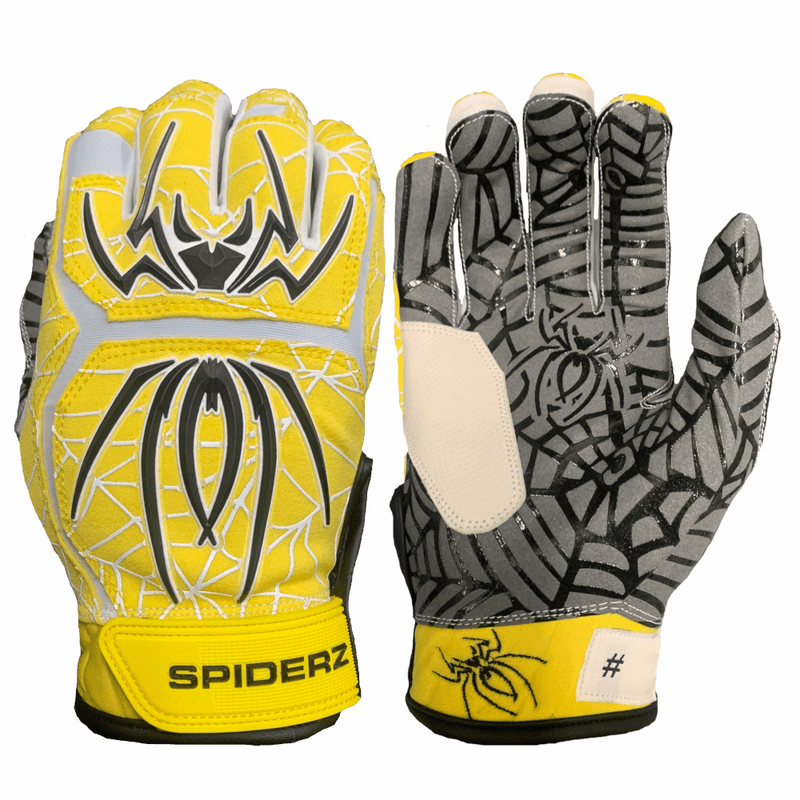 2020 Spiderz HYBRID Batting Gloves: Yellow/Black/White