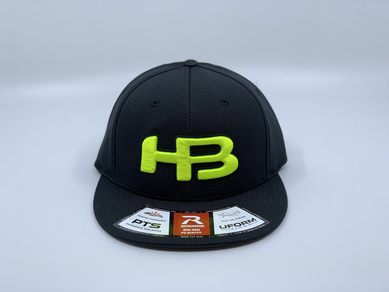 HB SPORTS EXCLUSIVE RICHARDSON PTS20 PULSE R-FLEX HAT: BLACK / OPTIC YELLOW