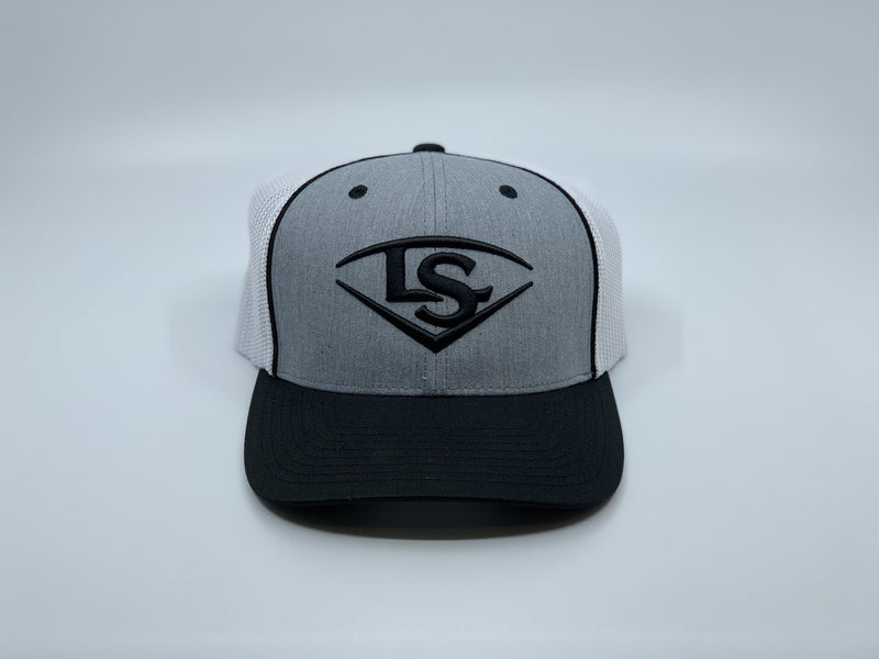 LOUISVILLE SLUGGER SHIELD FLEX FIT HAT: GRAY / WHITE