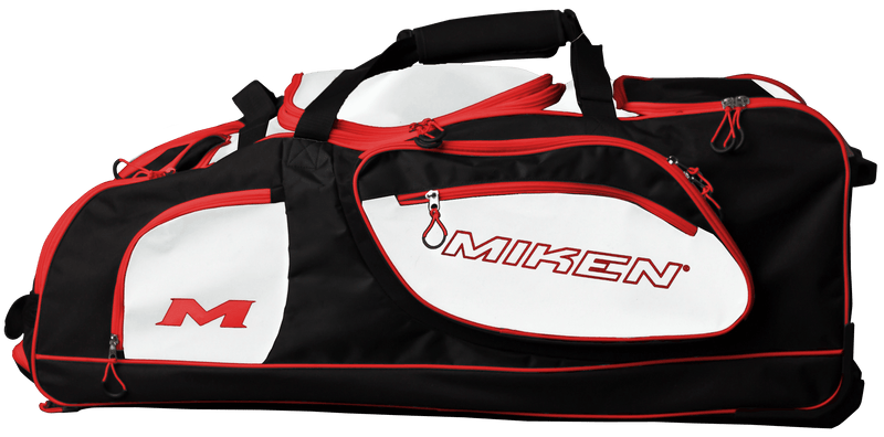 Black, White, and Red Miken Championship Wheeled Roller Bag MKBG18-CH-BWR