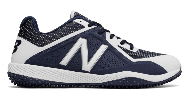 New Balance Navy and White Mens 4040 V4 Softball and Baseball Turf at Headbangersports.com.  Youth Models Available