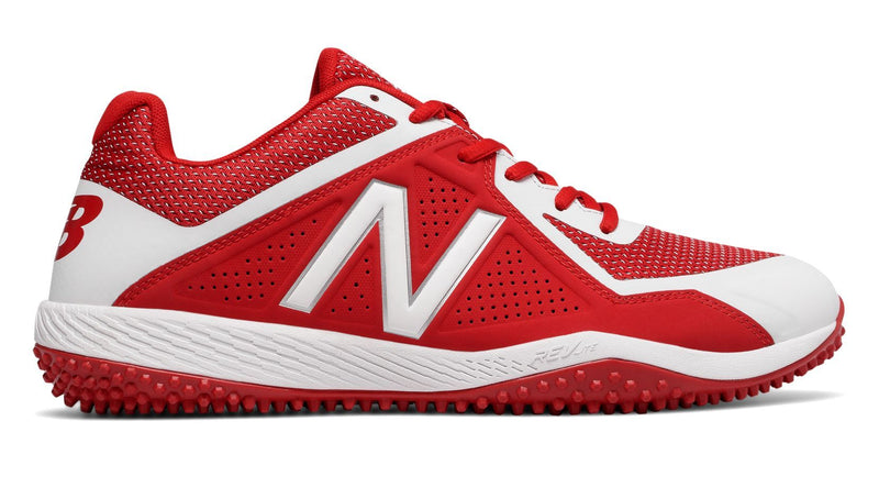 New Balance Red and White Mens 4040 V4 t4040tr4 Softball and Baseball Turf at Headbangersports.com.  Youth Models Available