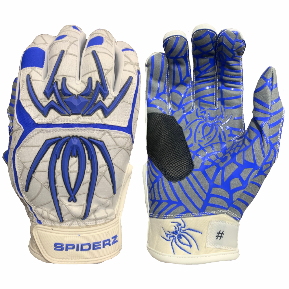 2020 Spiderz HYBRID Batting Gloves: White/Royal Blue/Black