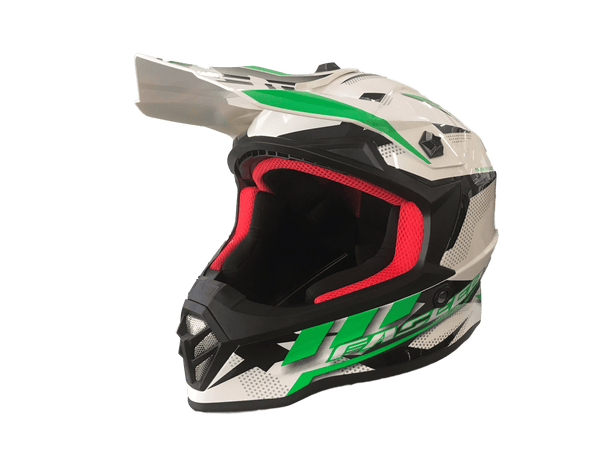 Faseed 608 Kids White/Black/Green Helmet