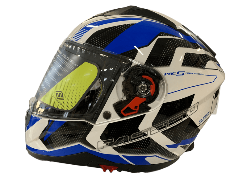 Faseed 819 White/Pure Blue Helmet - MC AUTO