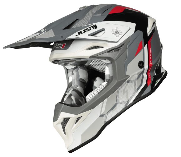 Just 1 J39 Pro Reactor White/Red/Grey Matt Helmet - MC AUTO