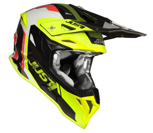 Just 1 J39 Pro Reactor Fluo Yellow/Red/Titanium Matt Helmet - MC AUTO