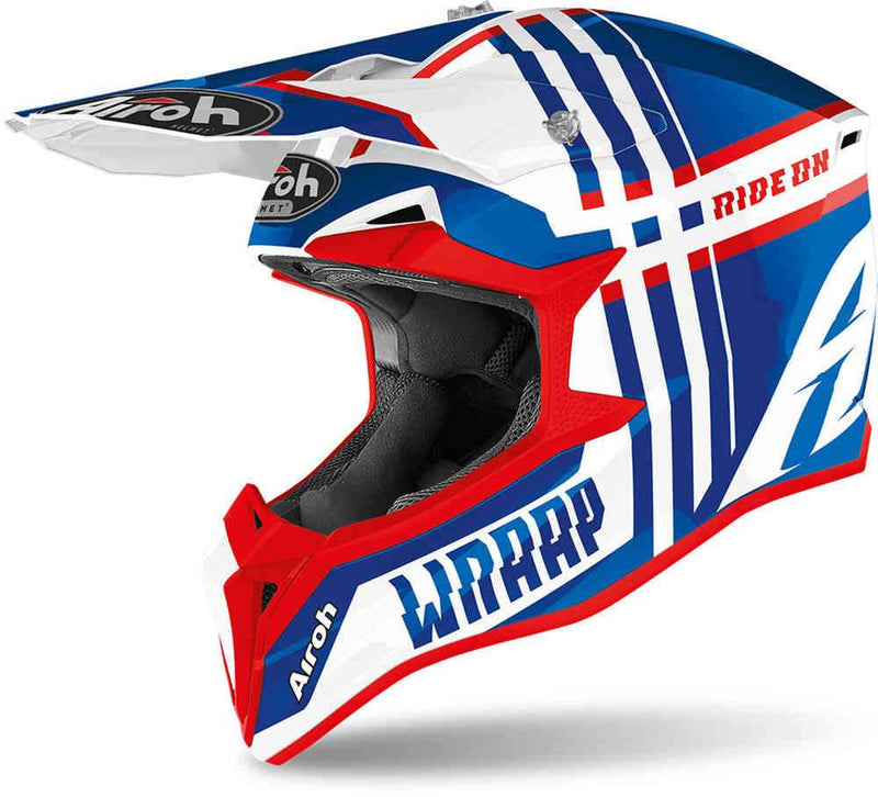 Airoh Wraap Blue/Red Broken Helmet - MC AUTO