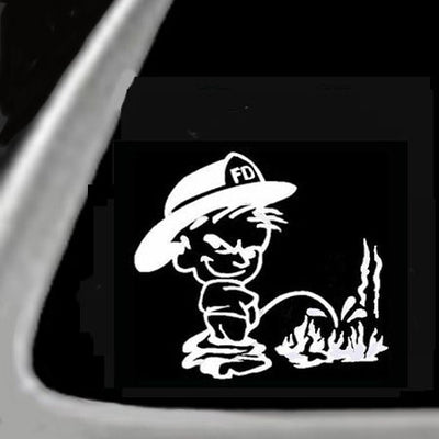 FIrefighter Peen On Flame 5 Inch White Vinyl Sticker/Decal