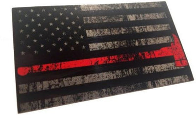 "THE TATTERED AND BURNED REFLECTIVE THIN RED LINE WITH AXE UNITED STATES FLAG TACTICAL FIREFIGHTER 3M DECAL 3.75X2.6"" STICKER"