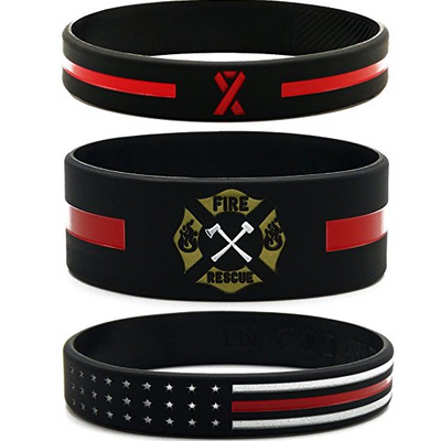 (6-pack) Firefighters' Thin Red Line Silicone Wristbands - Jewelry Gifts Accessories for Fire Fighters