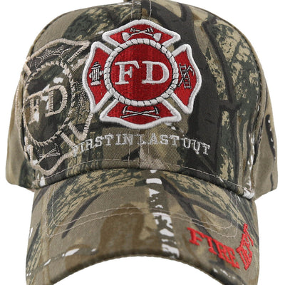 FD FIRE DEPT FIRST IN LAST OUT SHADOW NEW CAP HAT CAMO