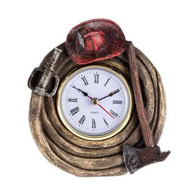 Fire Fighter Clock with Hat & Axe