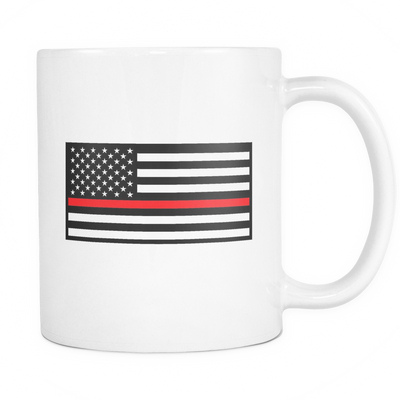 THIN RED LINE AMERICAN FLAG MUG - WHITE