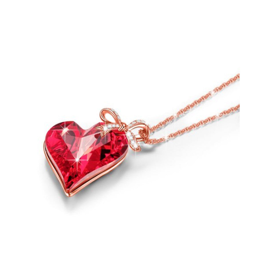 BEAUTIFUL RUBY RED HEART KNOT PENDANT NECKLACE FOR FIREFIGHTER GIRLS