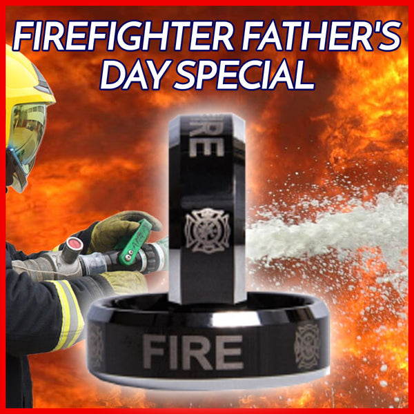 ***SPECIAL EDITION -FIREFIGHTER PRINTED SOLID TUNGSTEN CARBIDE RING