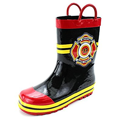 Fireman Firefighter Costume Style Rain Boots for Toddler and Kids