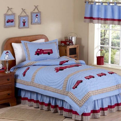 Frankie's Firetruck Childrens Bedding 4 Piece Boys Twin Set