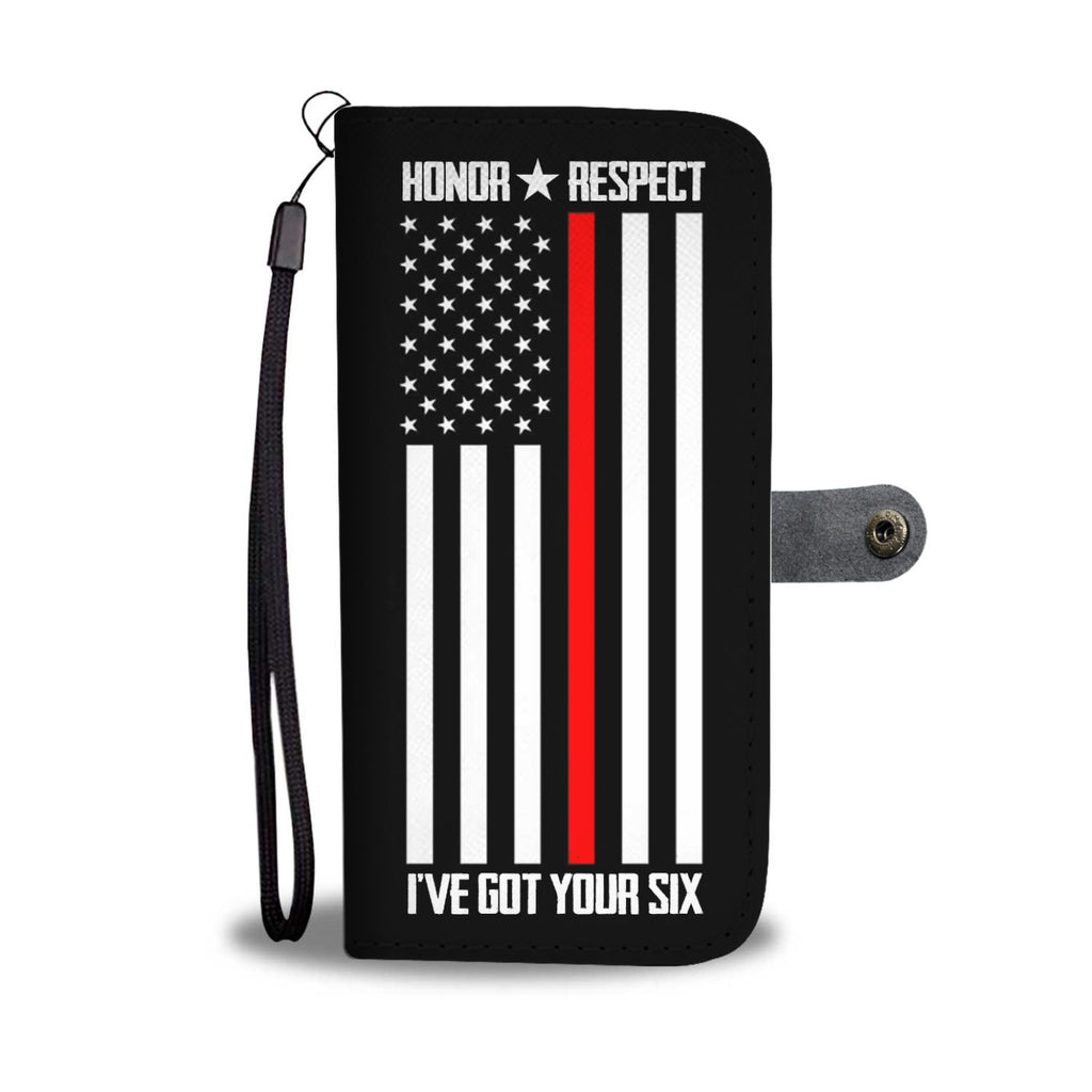 HONOR & RESPECT THIN RED LINE FLAG PHONE CASE WALLET