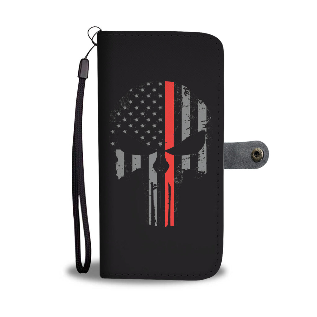 SKULL THIN RED LINE PHONE CASE WALLET