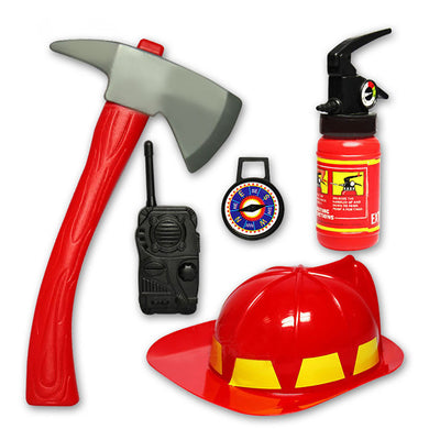 5pcs Plastic Fire Firefighter Kid Toy Fighter Costume Rescue Helmet Extinguisher