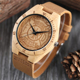 Cool Men Bamboo Watch Simple Firefighter Pattern Dial Soft Leather Strap Analog Fire Fighting Wooden Wristwatch Wood Clock Gifts