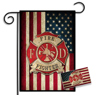 Firefighters American Flag Maltese Cross Garden Flag and American Flag Maltese Cross Car Decal