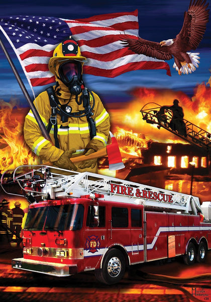 Decor Firefighters, Multicolor, 12 x 18 inches Garden Size Decorative Flag
