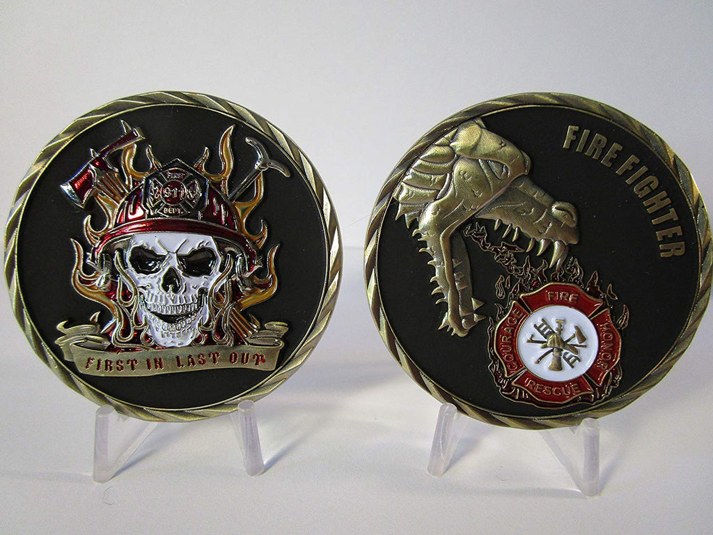 3D Firefighter Fireman First Responder First In Last Out Skull Challenge Coin