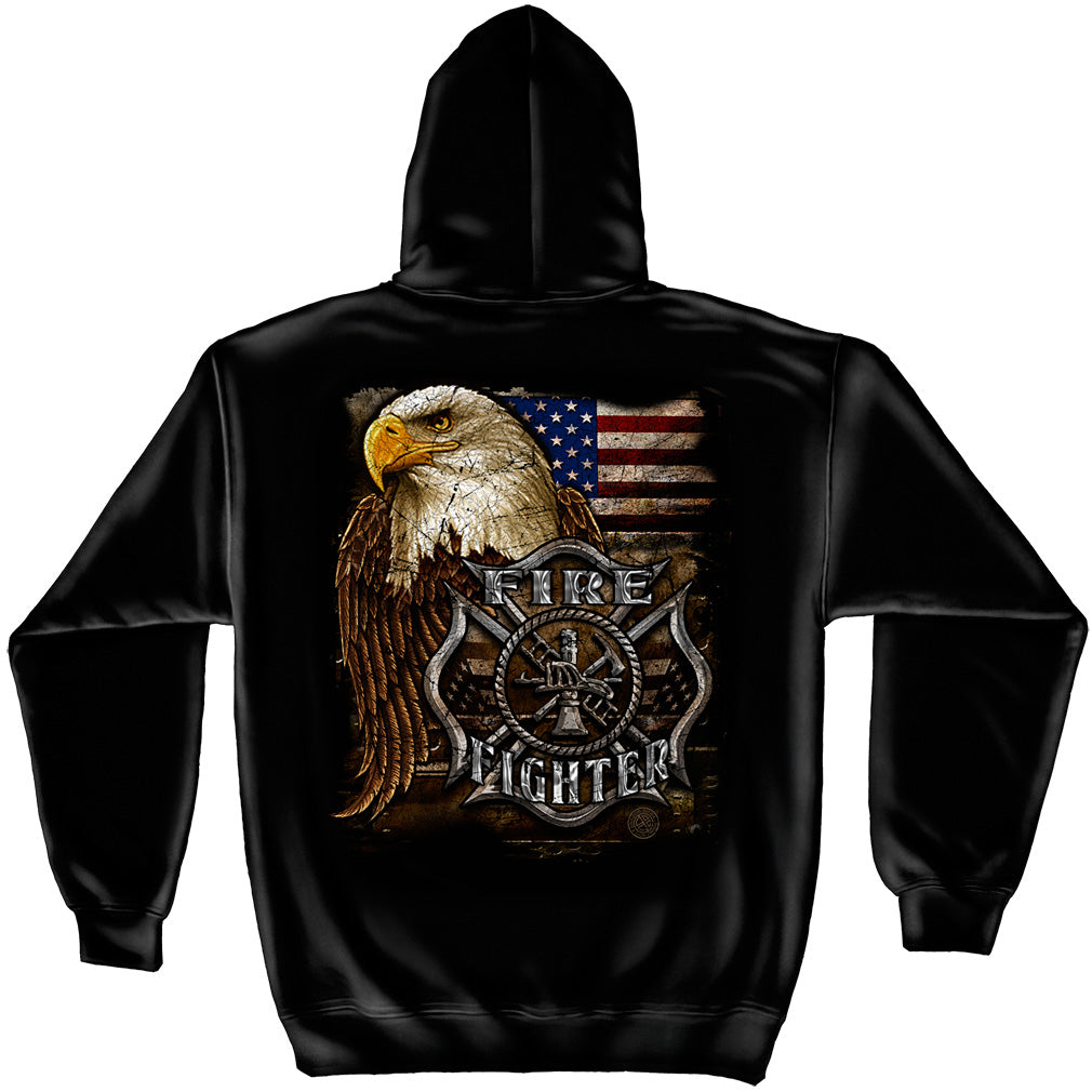 FIREFIGHTER EAGLE AND FLAG HOODED SWEATSHIRT