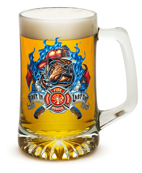 FIRE DOG FIRST IN LAST OUT 25oz large Tankard'
