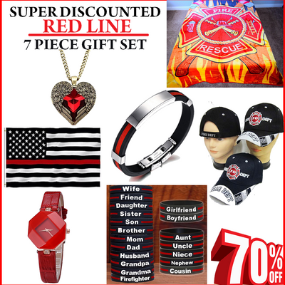 Super Discounted 7 Piece Firefighter Red Line Gift Pack