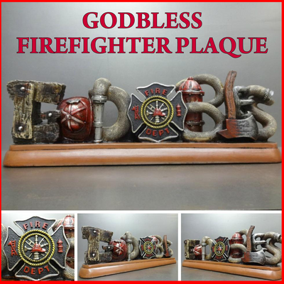 Firefighter Fireman God Bless Plaque Home Office Decoration Sculpture