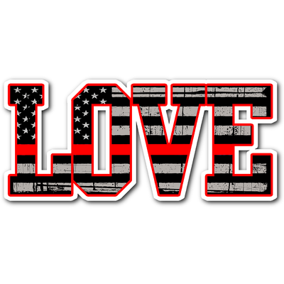 LOVE - THIN RED LINE FLAG STICKER