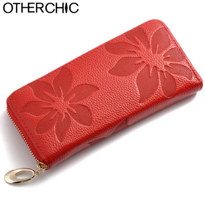 New European Genuine Leather Floral Red Firefighter Women Wallets