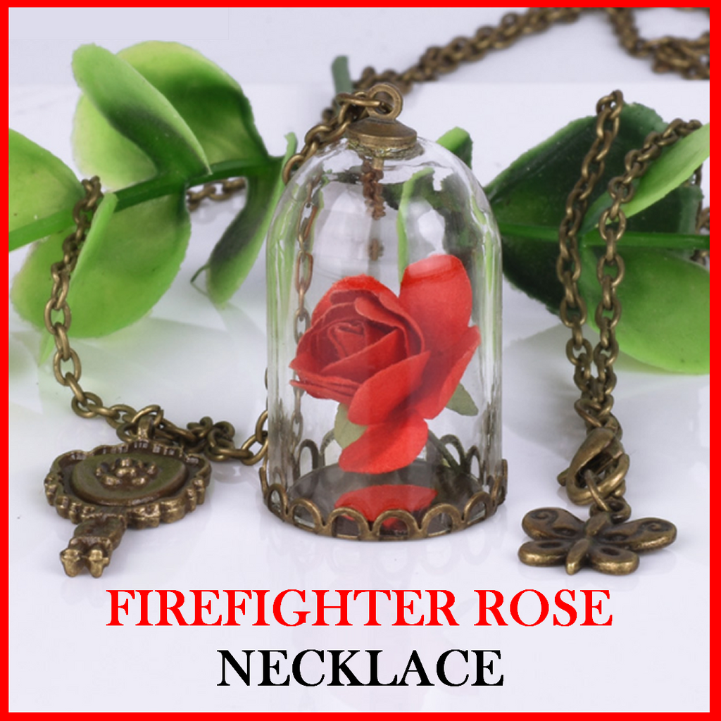 Firefighter Red Rose Glass Vial Necklace
