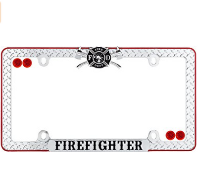 Cruiser Accessories Chrome/Black/Red Firefighter License Plate Frame with Fastener Caps