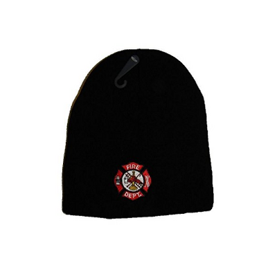 "8"" Black Fire Fighter Dept. First In Last Out Embroidered Beanie Skull Cap Hat"