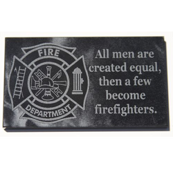 Firefighter gift plaque laser engraved black marble