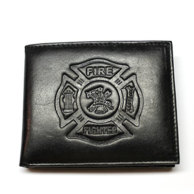FIRE FIGHTER EMBOSSED LEATHER BIFOLD WALLET