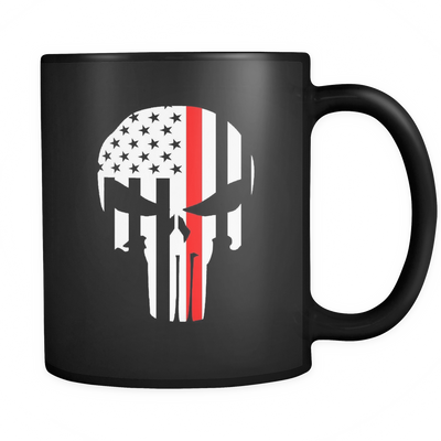 SKULL THIN RED LINE MUG - BLACK