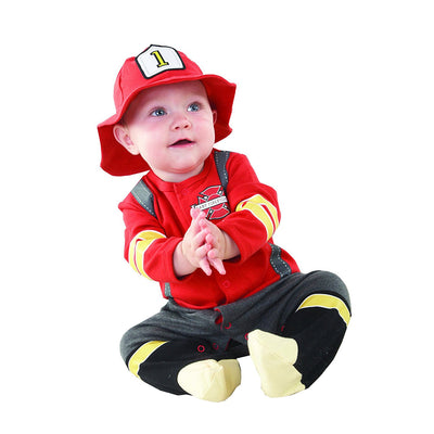 Ages 0-12 Months Super Cute Baby Firefighter Themed Outfit