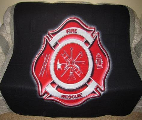 New Fireman Shield Fleece Throw Blanket