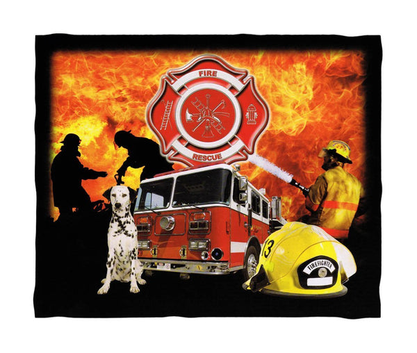 Super Soft Firefighter Fleece Throw Blanket