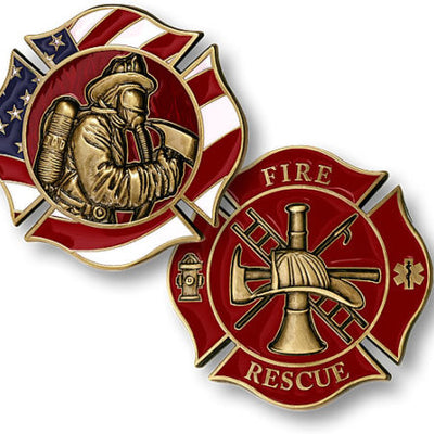 Fire and Rescue Maltese Cross Brass Challenge Coin