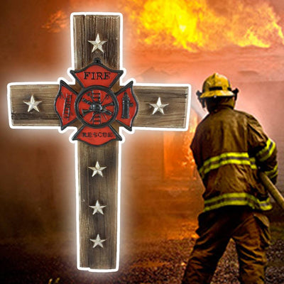 Pine Ridge Firefighter Fire and Rescue Wall Cross Home Decor